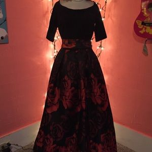 Black Red flower ball gown dress off shoulder